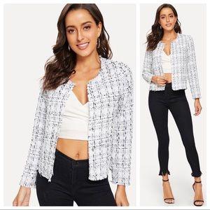 Jackets & Blazers - Frayed edge light weight tweed open jacket coat